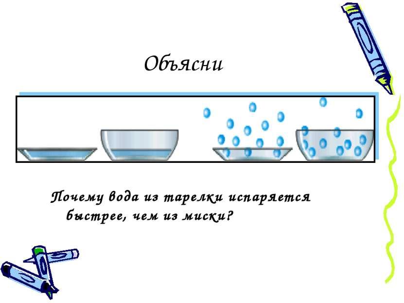 Объясни Почему вода из тарелки испаряется быстрее, чем из миски?