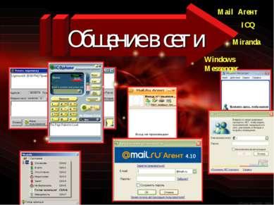 Общение в сети ICQ Mail Агент Miranda Windows Messenger
