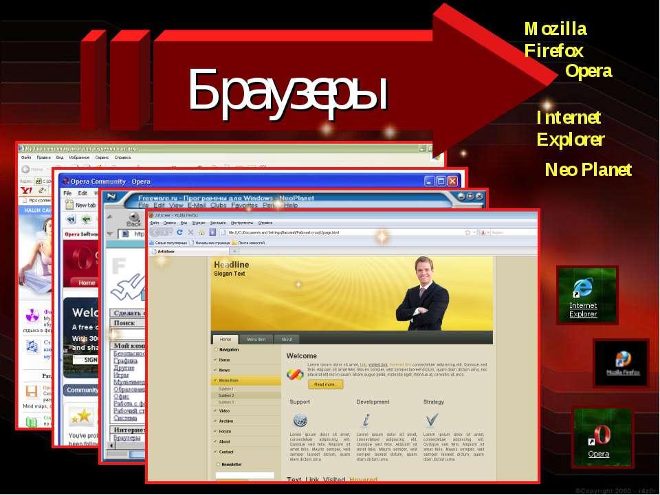 Браузеры Mozilla Firefox Internet Explorer Opera Neo Planet