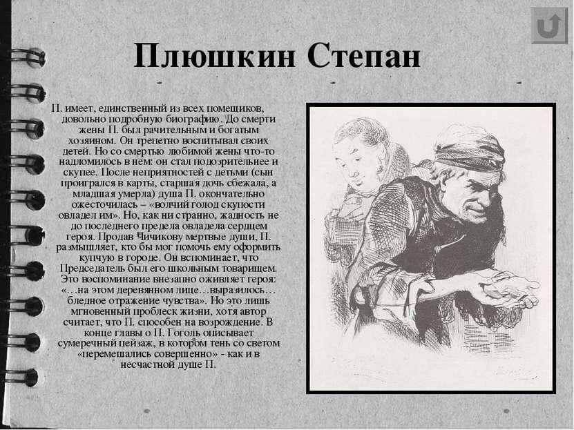 Плюшкин Степан П. имеет, единственный из всех помещиков, довольно подробную ...