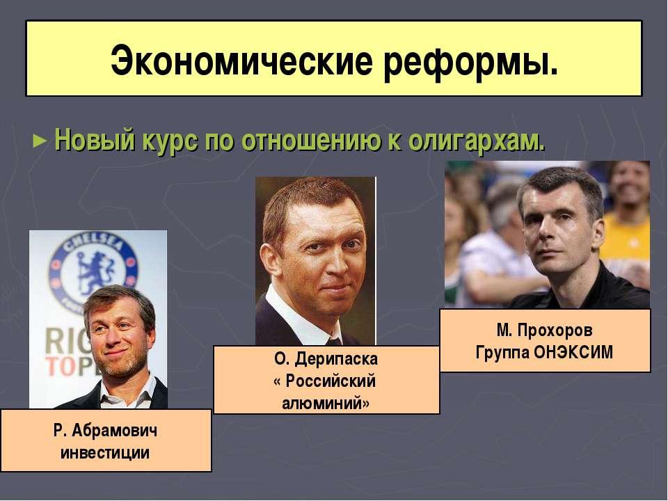 Новый курс по отношению к олигархам. Экономические реформы. М. Прохоров Групп...