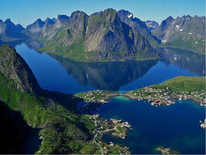 Побережье Норвегии Береговая линия Норвегии сильно изрезана узкими заливами –...