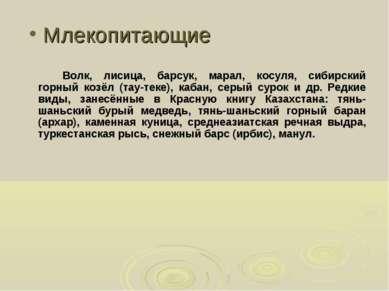 Млекопитающие Волк, лисица, барсук, марал, косуля, сибирский горный козёл (та...