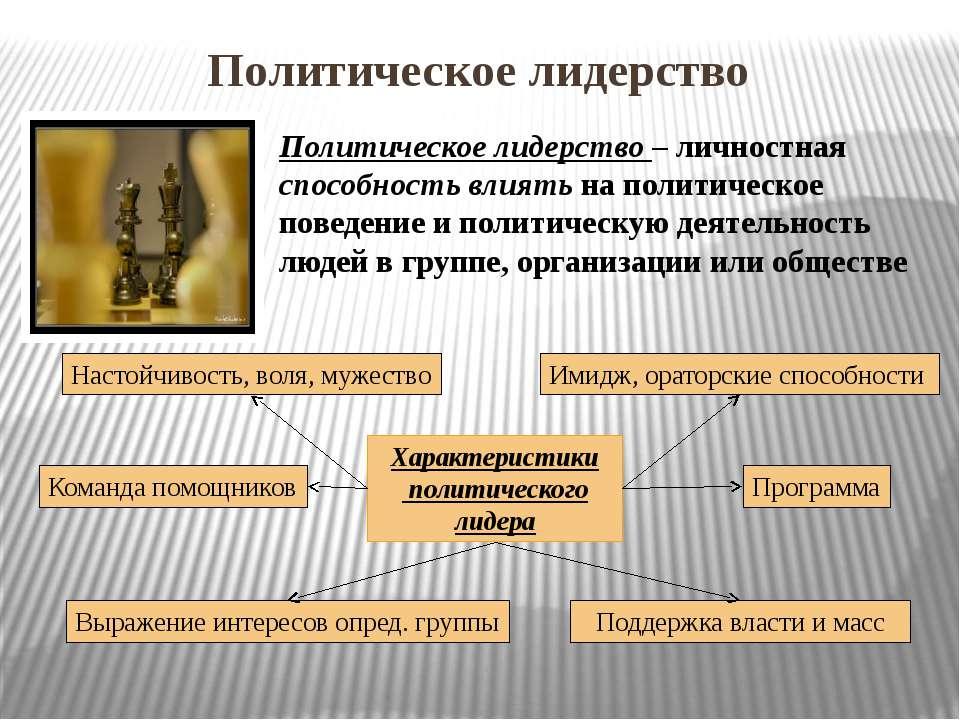 Политическое лидерство Политическое лидерство – личностная способность влиять...