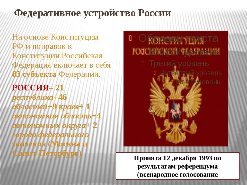 Федеративное устройство России На основе Конституции РФ и поправок к Конститу...