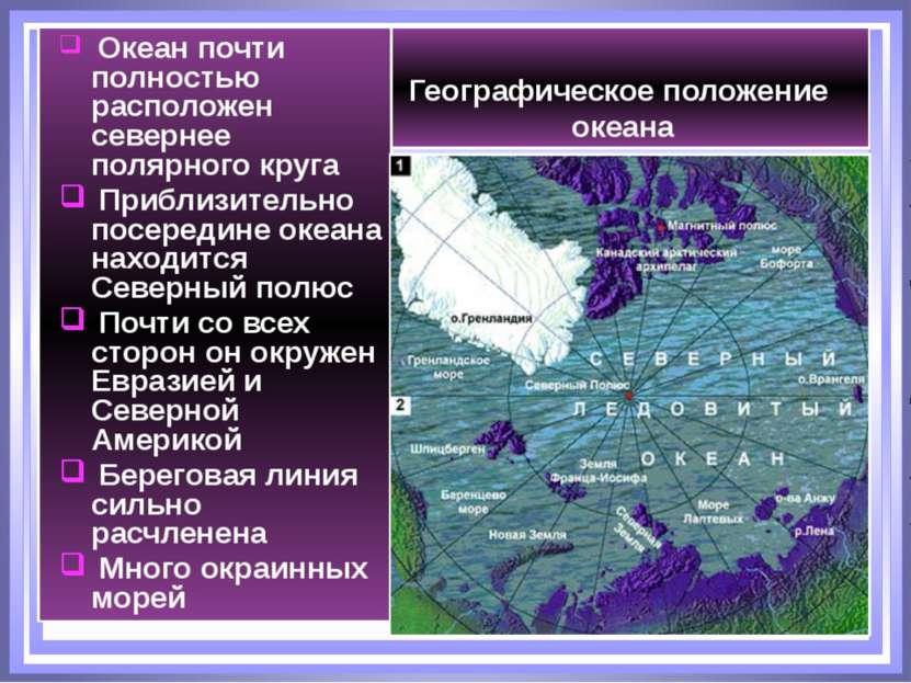 Географическое положение океана Океан почти полностью расположен севернее пол...