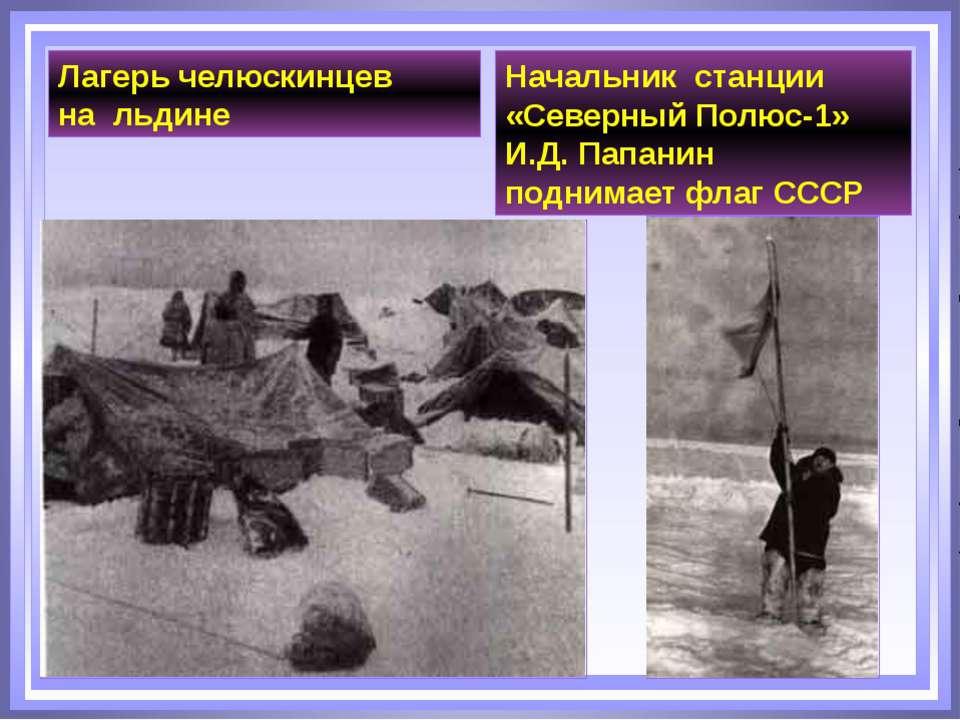 Начальник станции «Северный Полюс-1» И.Д. Папанин поднимает флаг СССР Лагерь ...