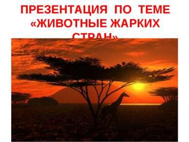 ПРЕЗЕНТАЦИЯ ПО ТЕМЕ «ЖИВОТНЫЕ ЖАРКИХ СТРАН»