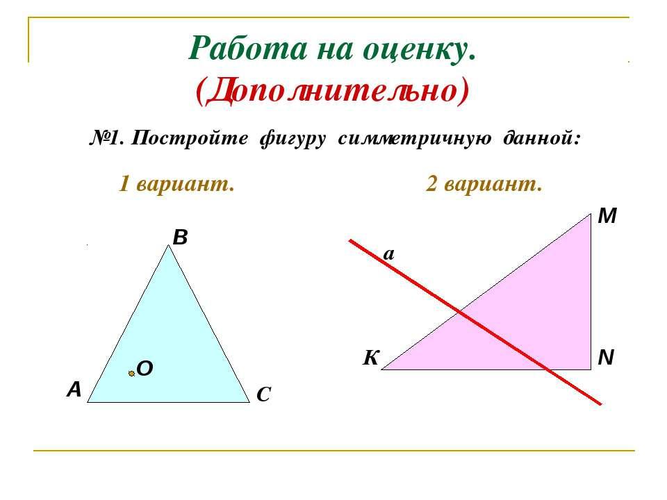 Работа на оценку. (Дополнительно) №1. Постройте фигуру симметричную данной: А...