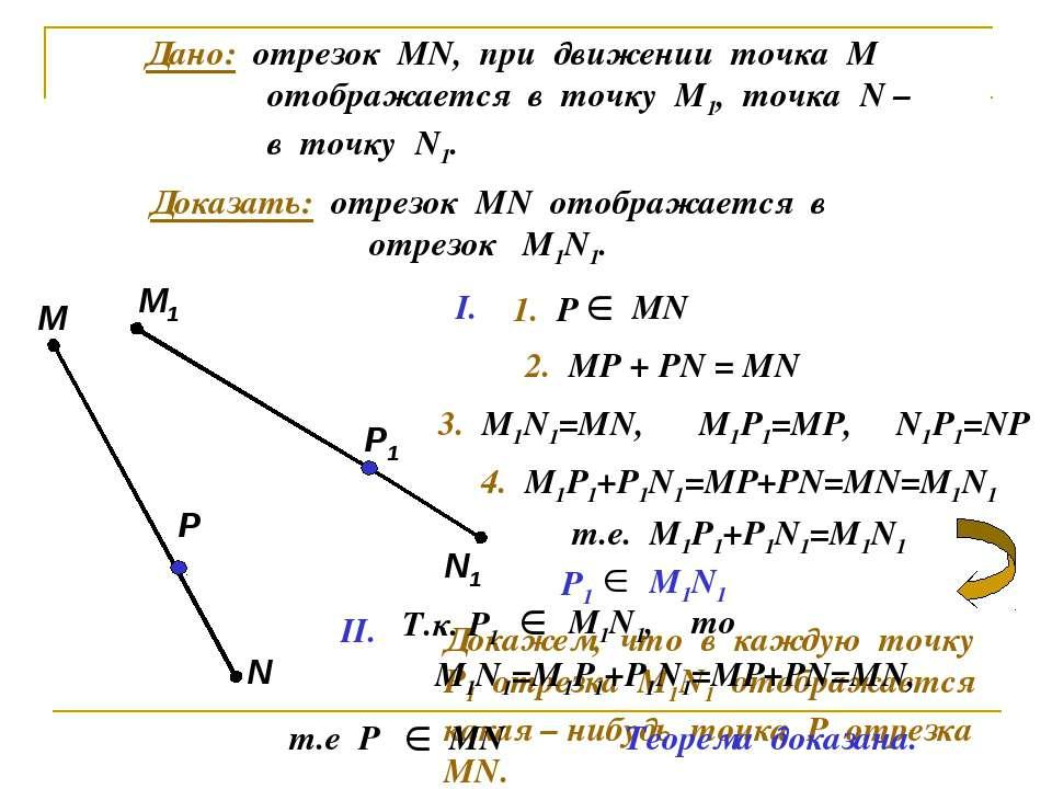 Дано: отрезок МN, при движении точка М отображается в точку М1, точка N – в т...