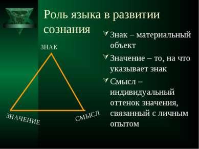 Роль языка в развитии сознания Знак – материальный объект Значение – то, на ч...