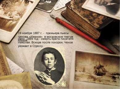 19 ноября 1887 г. - премьера пьесы Чехова «Иванов» в московском театре Корша....