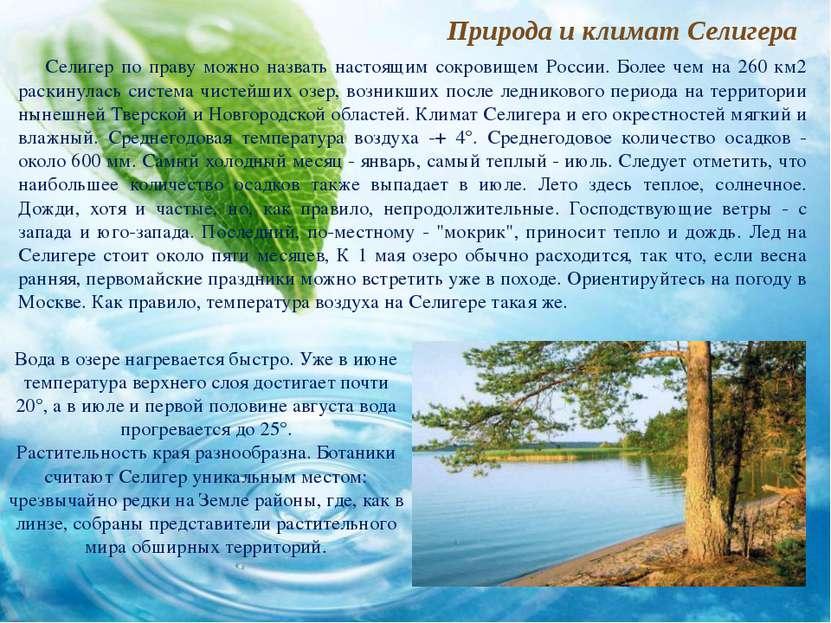 Природа и климат Селигера Селигер по праву можно назвать настоящим сокровищем...