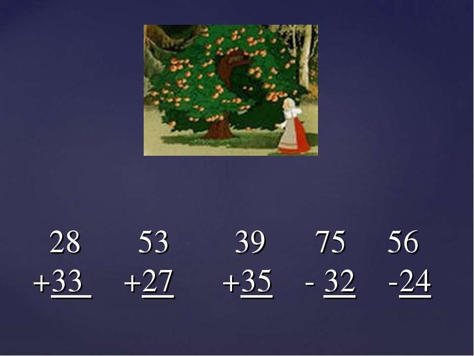 28 53 39 75 56 +33 +27 +35 - 32 -24