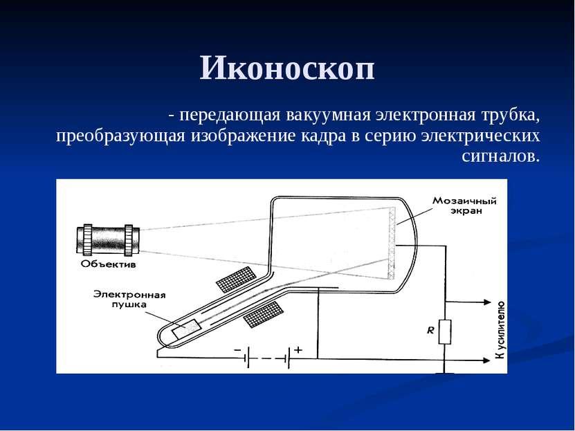 Иконоскоп - передающая вакуумная электронная трубка, преобразующая изображени...