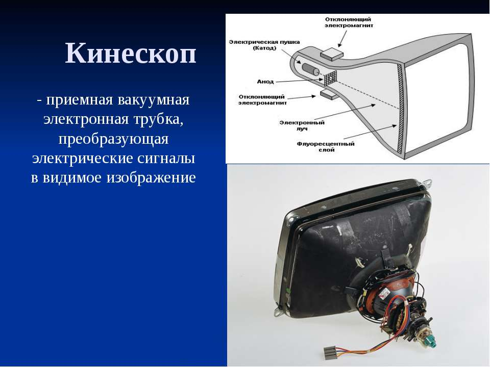Кинескоп - приемная вакуумная электронная трубка, преобразующая электрические...