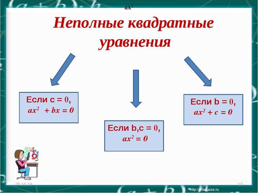 Неполные квадратные уравнения * * Если с = 0, ax2 + bх = 0 ax2 ax2 Если b,с =...