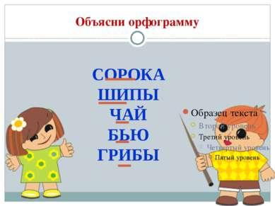 Объясни орфограмму СОРОКА ШИПЫ ЧАЙ БЬЮ ГРИБЫ
