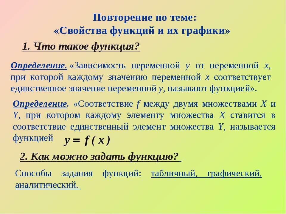 Повторение по теме: «Свойства функций и их графики» 1. Что такое функция? 2. ...