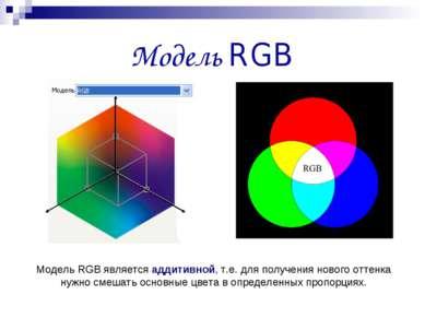 Модель RGB Модель RGB является аддитивной, т.е. для получения нового оттенка ...