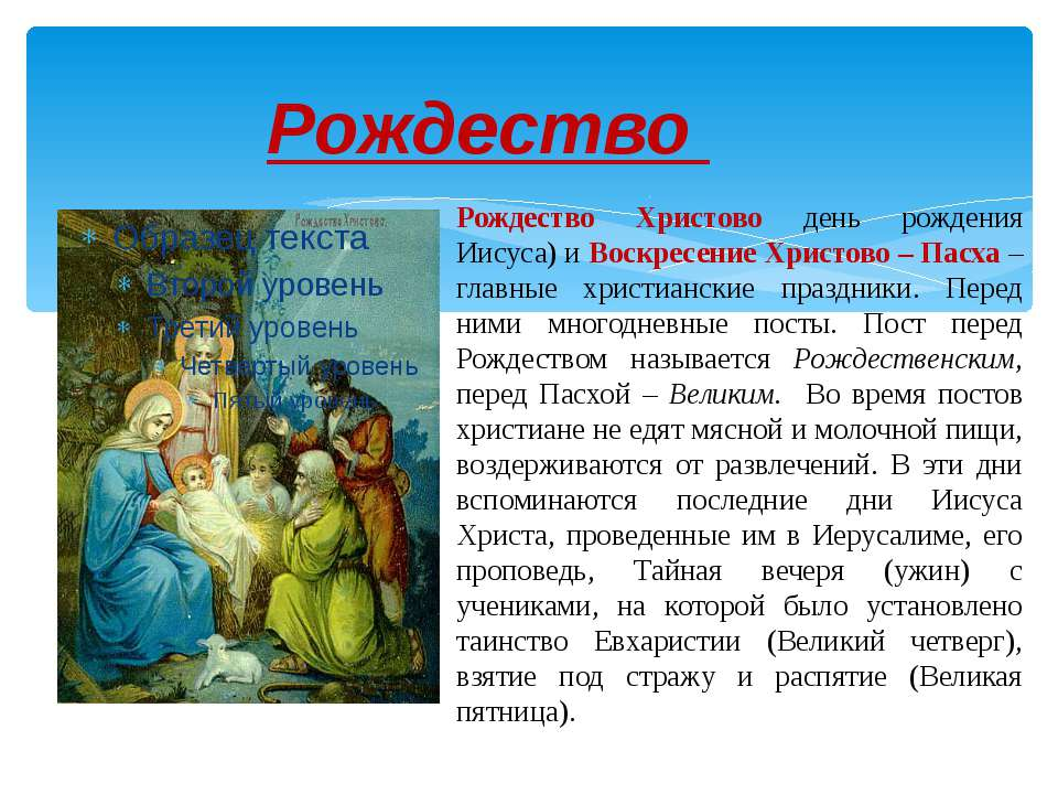 Рождество Рождество Христово день рождения Иисуса) и Воскресение Христово – П...
