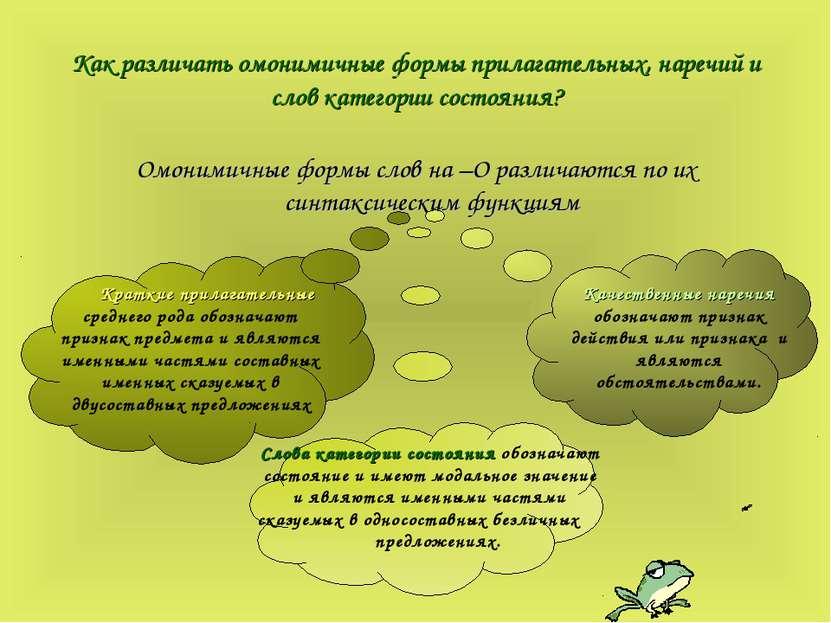 Как различать омонимичные формы прилагательных, наречий и слов категории сост...