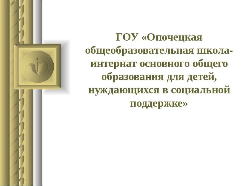 ГОУ «Опочецкая общеобразовательная школа-интернат основного общего образовани...