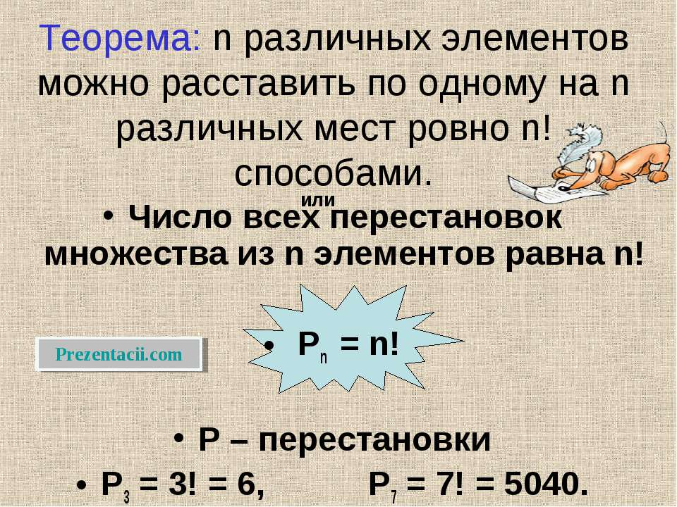 Теорема: n различных элементов можно расставить по одному на n различных мест...