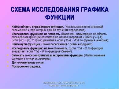 СХЕМА ИССЛЕДОВАНИЯ ГРАФИКА ФУНКЦИИ Найти область определения функции. (Указат...