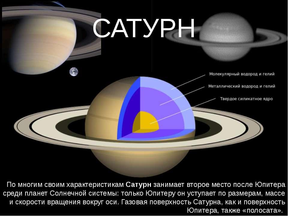 САТУРН По многим своим характеристикам Сатурн занимает второе место после Юпи...