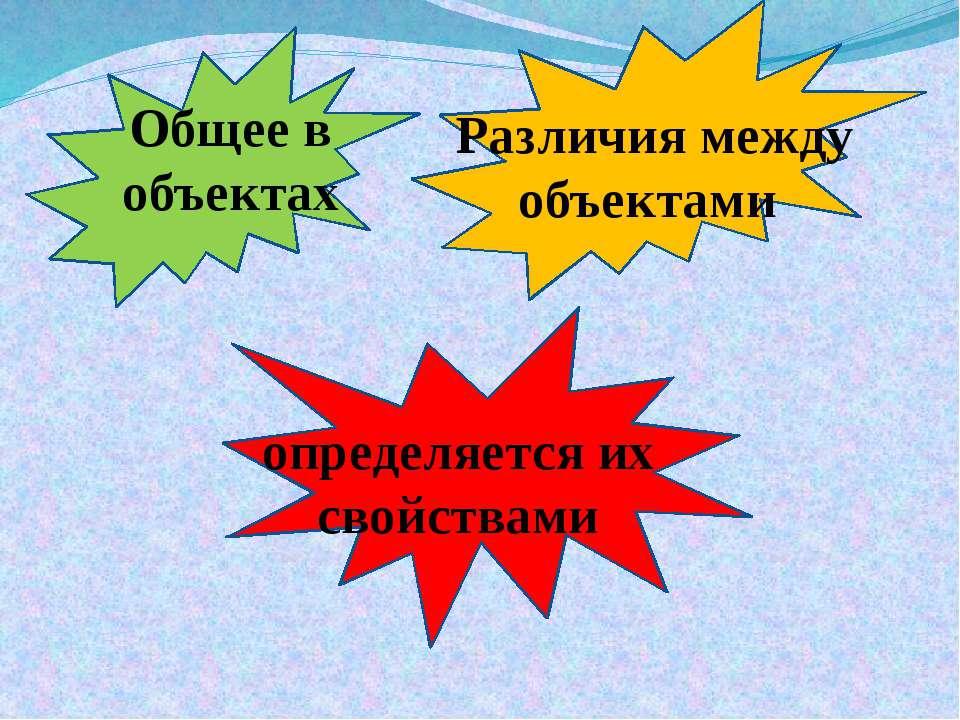 Общее в объектах Различия между объектами определяется их свойствами