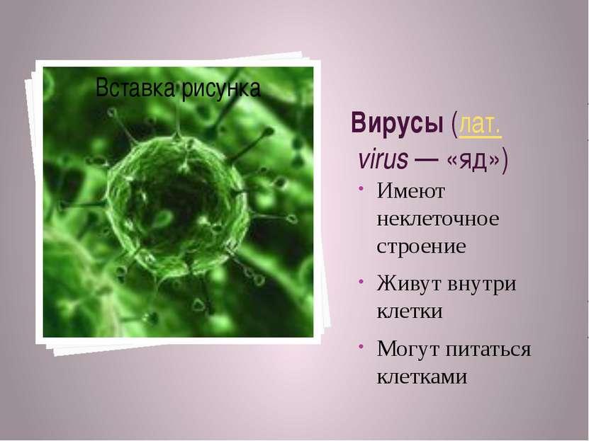 Вирусы (лат.virus— «яд») Имеют неклеточное строение Живут внутри клетки Мо...