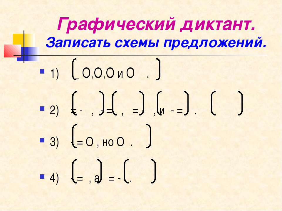 Графический диктант. Записать схемы предложений. 1) _ О,О,О и О . 2) = - , - ...