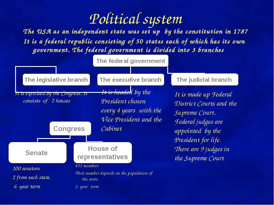 Political system The USA as an independent state was set up by the constituti...