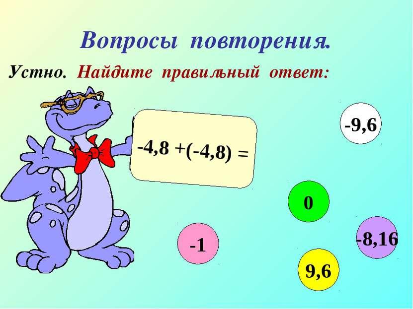 Вопросы повторения. Устно. Найдите правильный ответ: -4,8 +(-4,8) = -1 0 9,6 ...