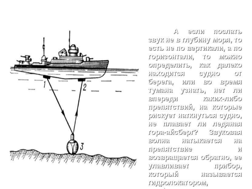 А если послать звук не в глубину моря, то есть не по вертикали, а по горизонт...