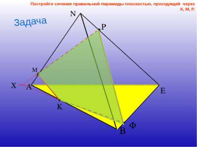 Постройте сечение правильной пирамиды плоскостью, проходящей через К, М, Р. З...