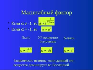 Параметры вещества Пыль ( = 0) УР, излучение ( = 1/3) -член ( = -1)