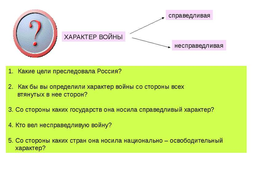 ХАРАКТЕР ВОЙНЫ Какие цели преследовала Россия? Как бы вы определили характер ...