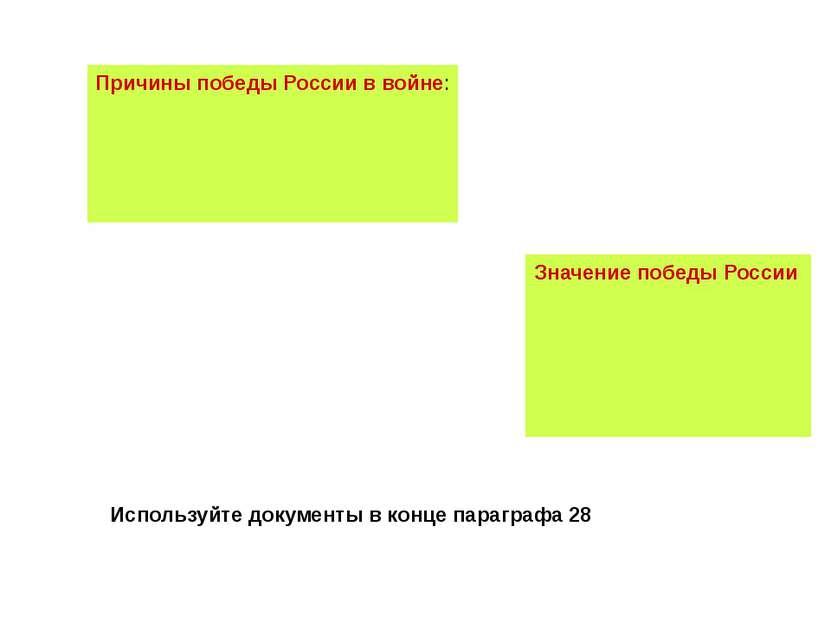 Причины победы России в войне: Значение победы России Используйте документы в...