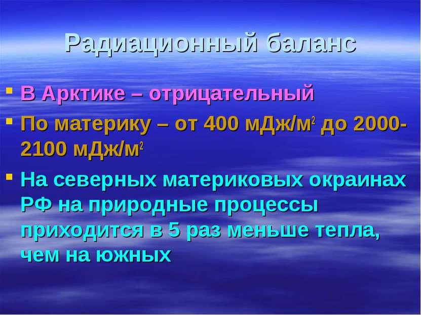 Радиационный баланс В Арктике – отрицательный По материку – от 400 мДж/м2 до ...