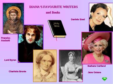 DIANA'S FAVOURITE WRITERS and Books Fransisc Assizski Lord Byron Charlotte Br...