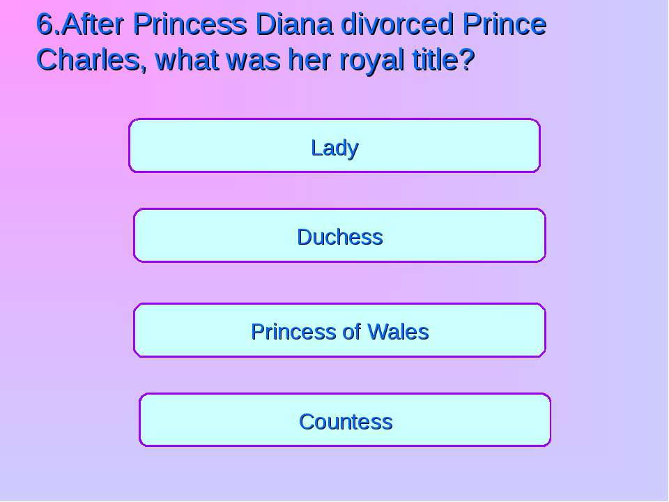 Princess of Wales Countess Duchess Lady 6.After Princess Diana divorced Princ...
