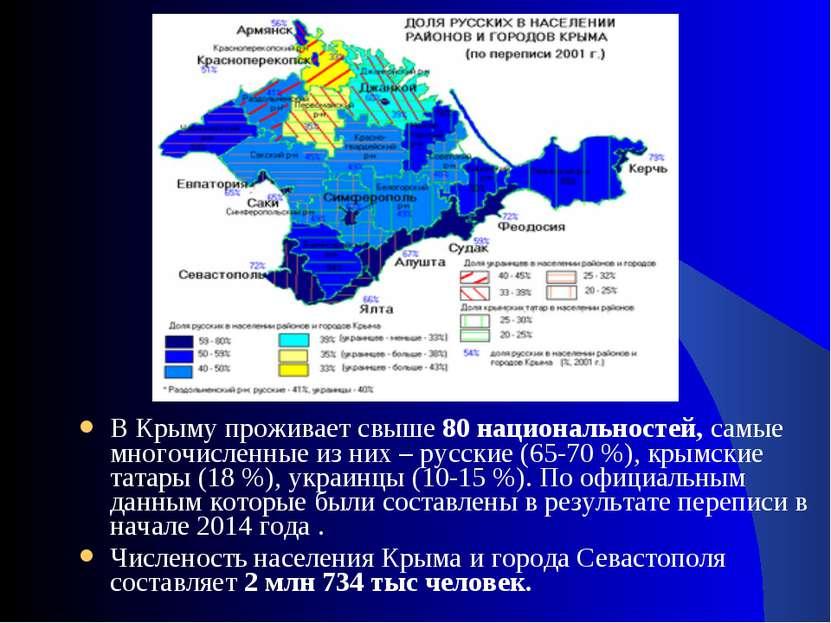 В Крыму проживает свыше80 национальностей,самые многочисленные из них – рус...