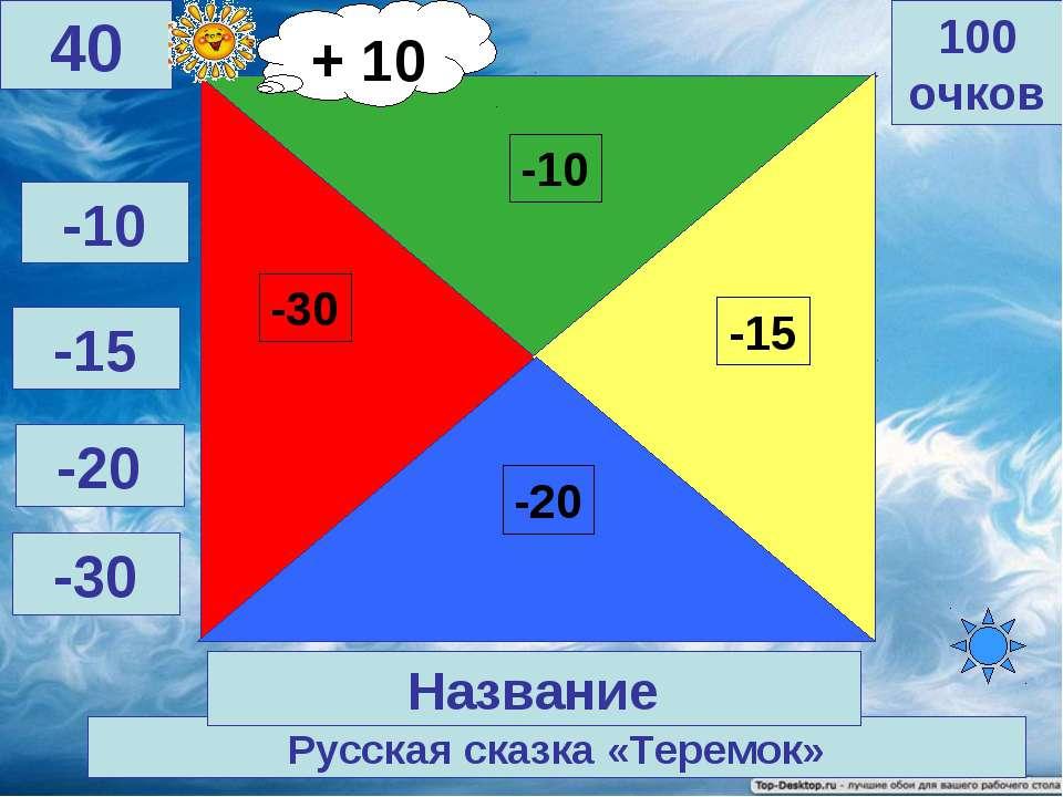 Русская сказка «Теремок» 100 очков 40 Название -10 -15 -20 -30 + 10