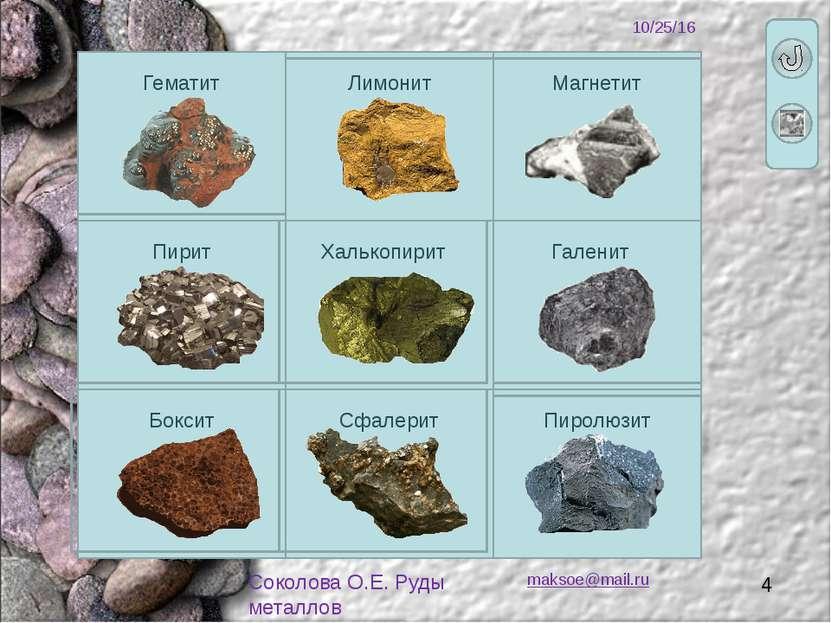 maksoe@mail.ru Соколова О.Е. Руды металлов Формула Fe2O3 Цвет Металлический с...