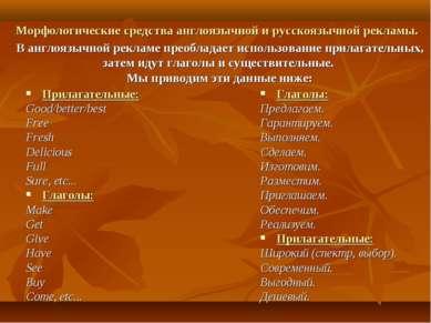 Морфологические средства англоязычной и русскоязычной рекламы. В англоязычной...