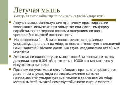 Летучая мышь (материал взят с сайта http://ru.wikipedia.org/wiki/Ультразвук )...