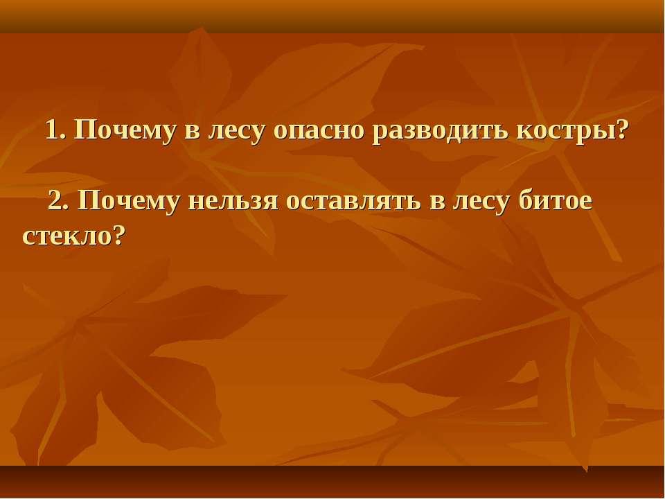 1. Почему в лесу опасно разводить костры? 2. Почему нельзя оставлять в лесу б...