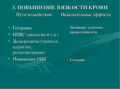 3. ПОВЫШЕНИЕ ВЯЗКОСТИ КРОВИ Пути воздействия Гепарины НПВС (анальгин и т.д.) ...
